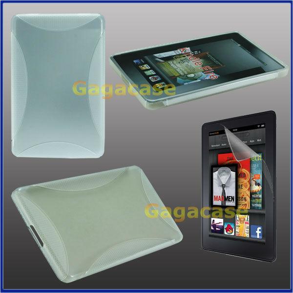 Clear  Kindle Fire TPU Gel Case Skin Cover + Anti Galre Screen