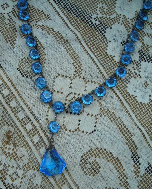 Vintage Art Deco Blue Prism Crystal open Back Necklace Silver Tone