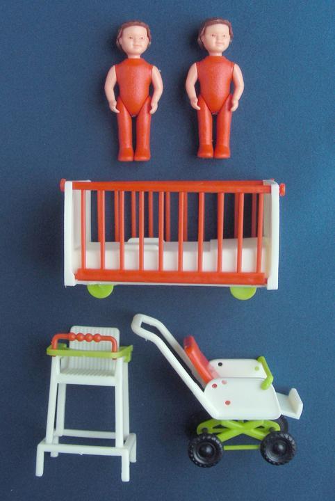 Vintage Twins Hard Plastic Baby Dolls Nursery Furniture Crib Stroller High Chair