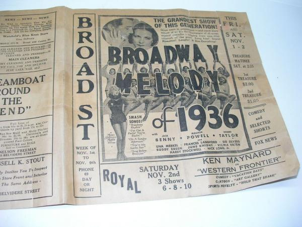 vintage 1936 nazareth pa movie theatre playbill movie bill