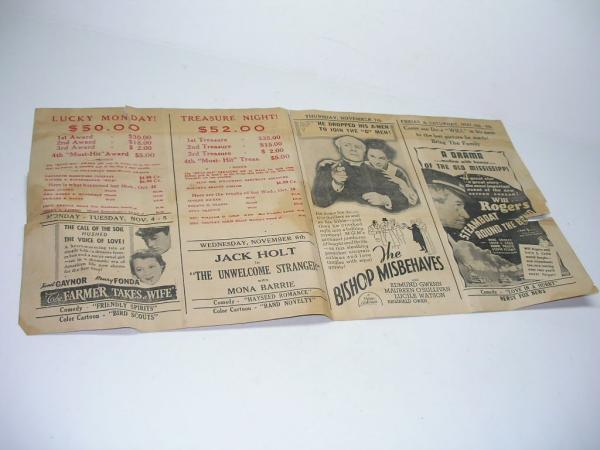 vintage 1936 nazareth pa movie theatre playbill movie bill