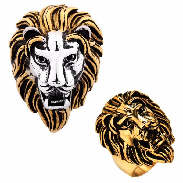 662ca0bebd1af Details about Men's Lion King Head Punk Biker Rings Size Q-Z 316L Stainless  Steel Jewelry