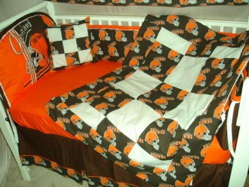 c9ac7414 Details about Custom Made BABY Crib Nursery Bedding set m/w Cleveland  Browns NFL fabric