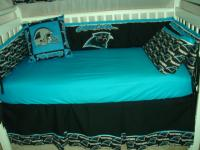 custom made baby crib nursery bedding set m/w carolina panthers