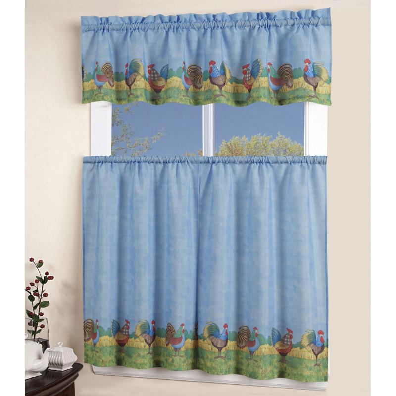 3 PC ROOSTER Kitchen Window Curtain Dressing Tier Swag