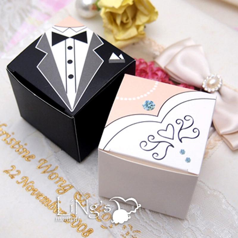 100 Bride Groom Tuxedo Dress Decor Wedding Favor Gift Candy Box Bridal Boxes