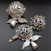 39709 Silver Tone Brass Angel Wings Hollow Angel Caller Lockets Pendant 2pcs