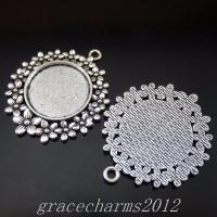 8pcs Vintage Silver Alloy 20mm Flower Cameo Setting Dart Pendants Jewelry 50251