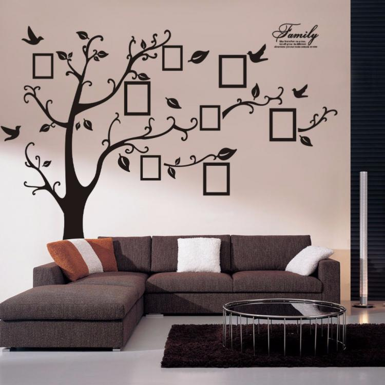 Family tree wall decal sticker large vinyl photo picture for Black tree wall mural