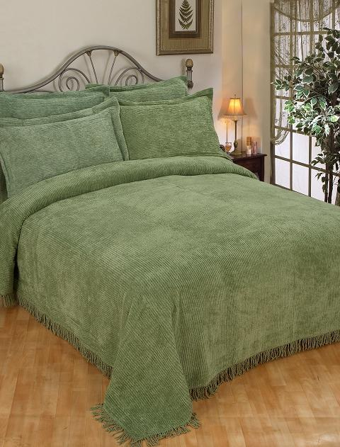New Sage Green Cotton Chenille Twin Bedspread Set Ebay