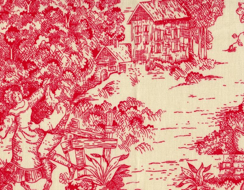 """NEW 72"""" French Country Toile Cherry Red Fabric Shower Curtain Cotton"""