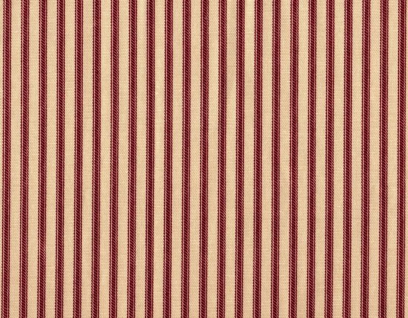 """72"""" French Country Ticking Stripe Crimson Red Fabric Shower Curtain Cotton"""