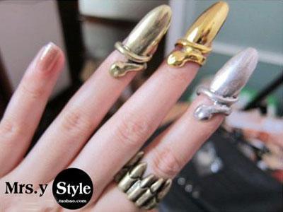 Lady Gaga Fashion Punk Cool Finger Nail Snake Design Rings Bronze H34