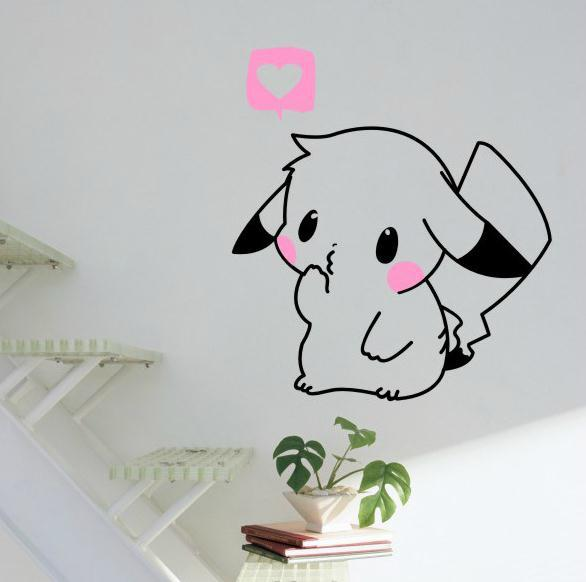 au 229 anime pokemon pikachu mural decals decor home removable wall sticker diy ebay. Black Bedroom Furniture Sets. Home Design Ideas