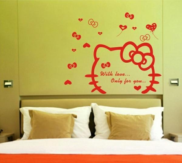 Hello Kitty Home Decor: ZG#142 Pretty Hello Kitty Mural Decals Decor Home