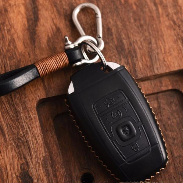 5 Buttons, Black Vitodeco Genuine Leather Keyless Smart Key Fob Case Cover Protector with Leather Key Chain for 2017-2019 Lincoln Continental MKZ MKC 2018-2019 Lincoln Navigator MKX