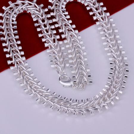 """Cool 925Sterling Silver 12MM 20/"""" Flat 3 Space 1 Strong Men Chain Necklace YN196"""