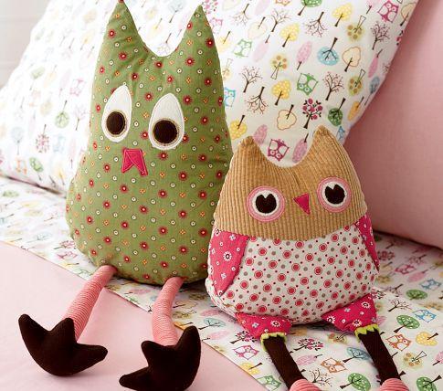 Pottery Barn Kids Penny Joy Stuffed Plush Owl Bird Toy Accent Pillows
