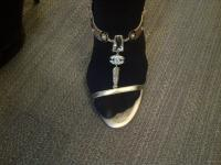 NIB AUTHENTIC CHANEL GOLD FEATHER LOGO CHARMS T STRAP SHOES SANDALS 39