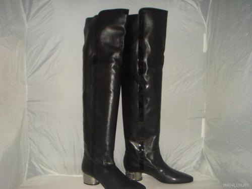 nib auth chanel black thigh high silver heel boots 38 ebay