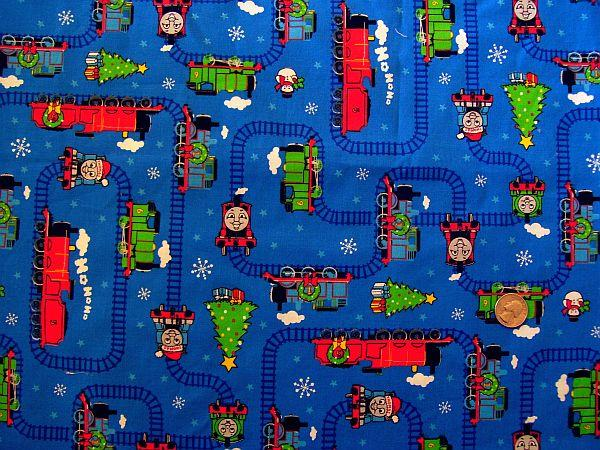 Thomas the train christmas fabric 1 yard 100 cotton 2006 for Train themed fabric