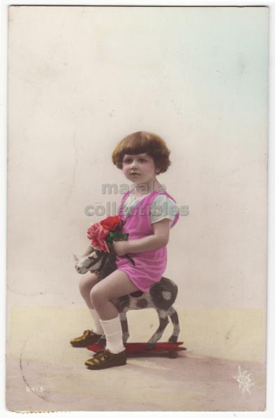 Riding the Wooden Pony http://www.popscreen.com/p/MTU5NDYwNzk2/Cute-Little-Girl-Riding-Small-Wooden-Horse-c1910s-Tinted-Photo