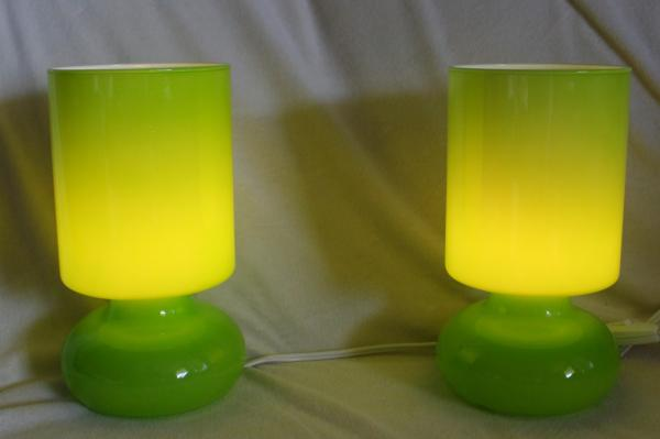 Details About 2 Ikea Green Glass Lykta 9 75 Table Lamps Light Retro Mid Century Modern Works