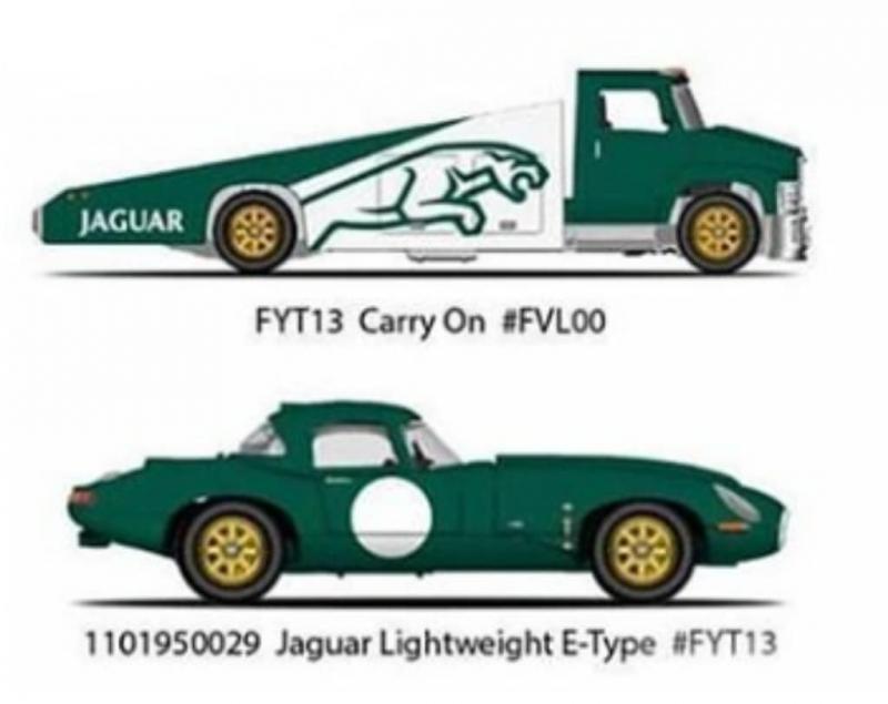 Team Transport Jaguar Lightweight E-Type Carry on #14 1:64 Hot wheels Car cultur