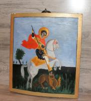 Saint George and the Dragon Orthodox Russian Icon size 11 by 13 cm