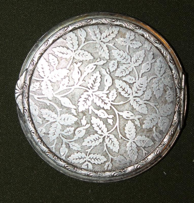 Antique Ornate Floral Silver Plated Powder Compact Mirror