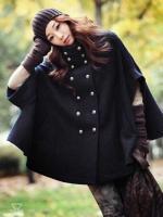 Модное пальто синего цвета в стиле корейском.
