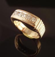 14k Solid Yellow Gold Mens Diamond Ring 1/5 ct