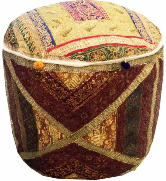 Excellent Details About 25 Glittering Sari Kundan Bead Furniture Ottoman Pouf Stool Bench Pillow Cover Machost Co Dining Chair Design Ideas Machostcouk