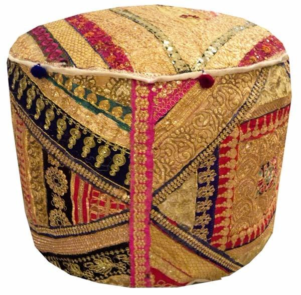 Excellent Details About 25 Exquisite Squin Sari Ottoman Bench Stool Pouffe Chair Pillow Cover Furniture Gmtry Best Dining Table And Chair Ideas Images Gmtryco