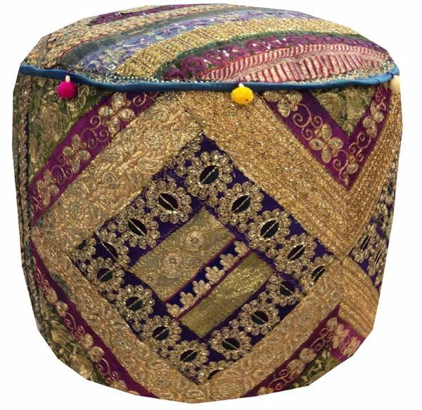 Tremendous 25 Glittering Beads Sequin Sari Ottoman Stool Furniture Gmtry Best Dining Table And Chair Ideas Images Gmtryco