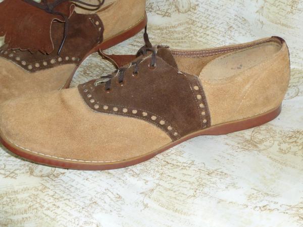 Vintage Mens Shoes-1960s 1970s Disco-TuTone Suede