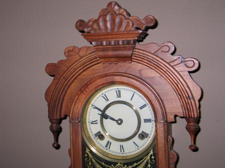 Antique 1800s Ornate Wall Clock Ornate Brass Pendulum Hand