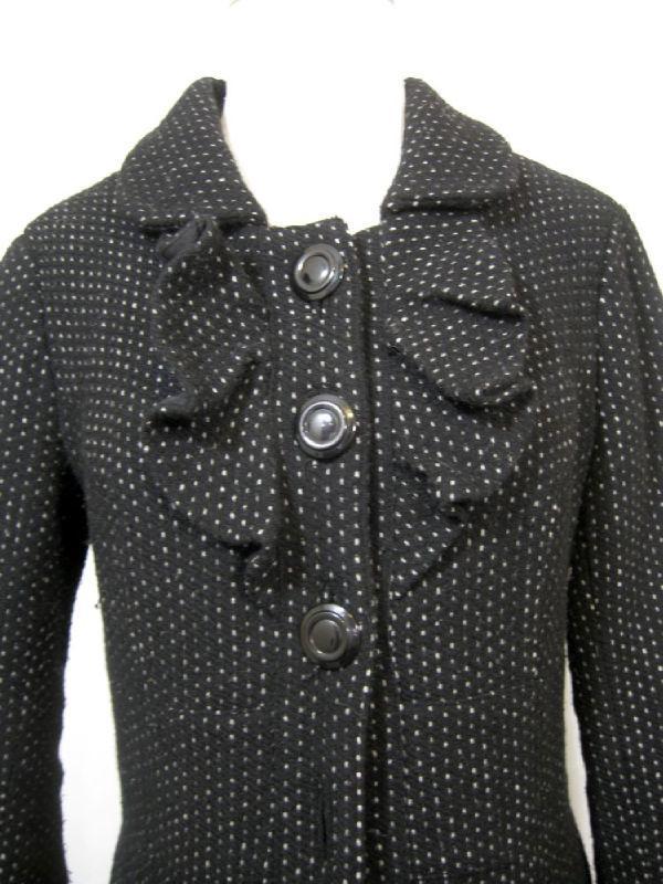 Anthropologie Womens Black Ruffled Wool Swing Peacoat Coat Jacket sz 6