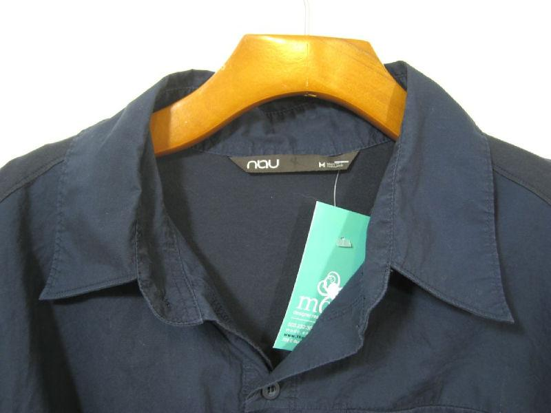 NAU Mens Contrast Cotton Long Sleeve Button Up Organic Cotton Shirt sz