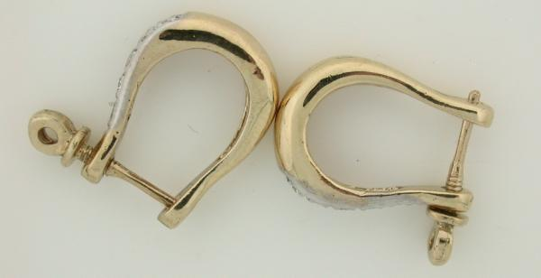 shackle earrings 14k gold shackle earring with 5 cut diamonds ebay 498