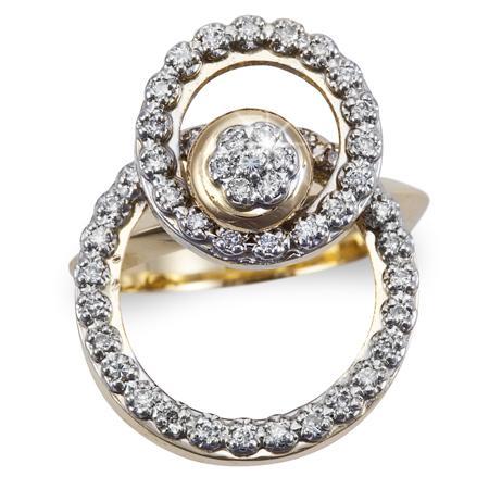 motion ring two circle 14k gold and 54 diamonds fl808 ebay