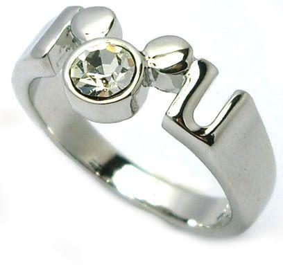 18kgp Disney Mickey Mouse Crystal Ring Silver Tone
