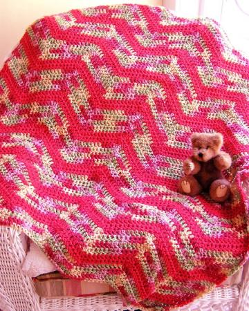 Crocheting Easy Blankets Throws And Wraps : CHEVRON RIPPLE CROCHET BABY BLANKET AFGHAN wrap shawl HANDMADE RIPPLE ...
