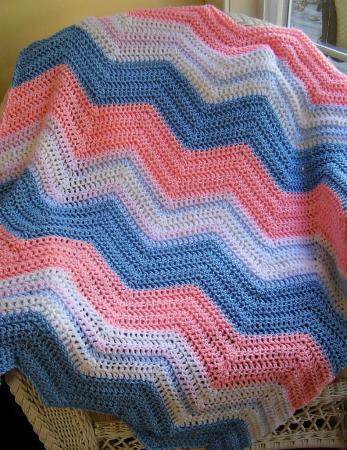 Crocheting Easy Blankets Throws And Wraps : ... ripple crochet baby blanket afghan wrap shawl handmade PINK BLUE WHITE