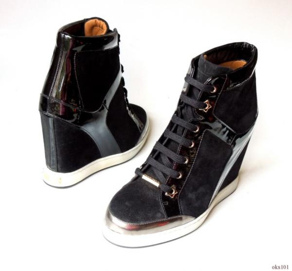 562f6090961c new  795 JIMMY CHOO  Panama  black suede wedge sneakers ANKLE BOOTS ...