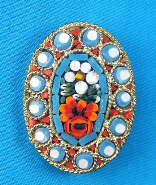 Made in Italy Micro Mosaic Flower Brooch One of a kind Antique Italian Jewelry