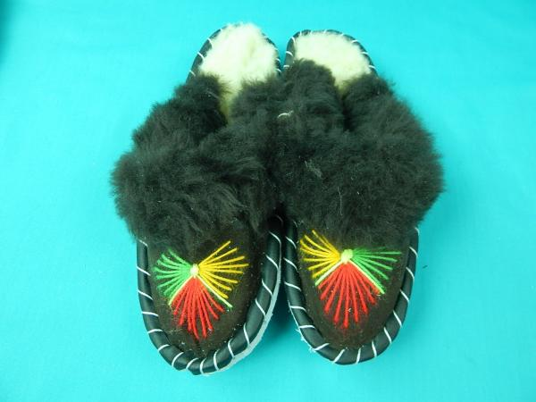 d39184d21c83f Womens Polish Leather Sheepskin Wool Moccasins Slippers House Shoes ...