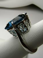 Big 7ct Emerald Cut Blue Sapphire Sterling Silver 925 Filigree Ring