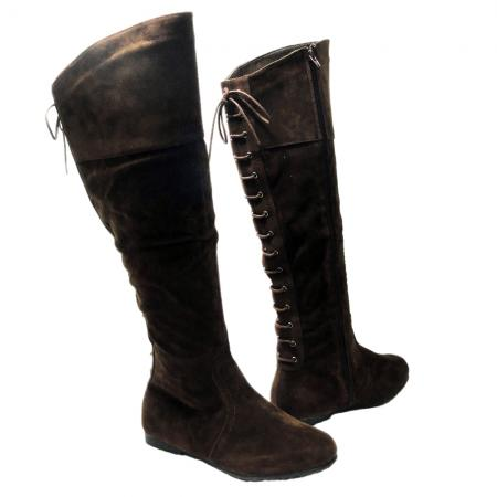 s casual knee high lace up back flat suede zip boots