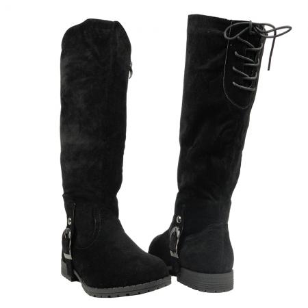 Details about new women s lace up back knee high riding boots black